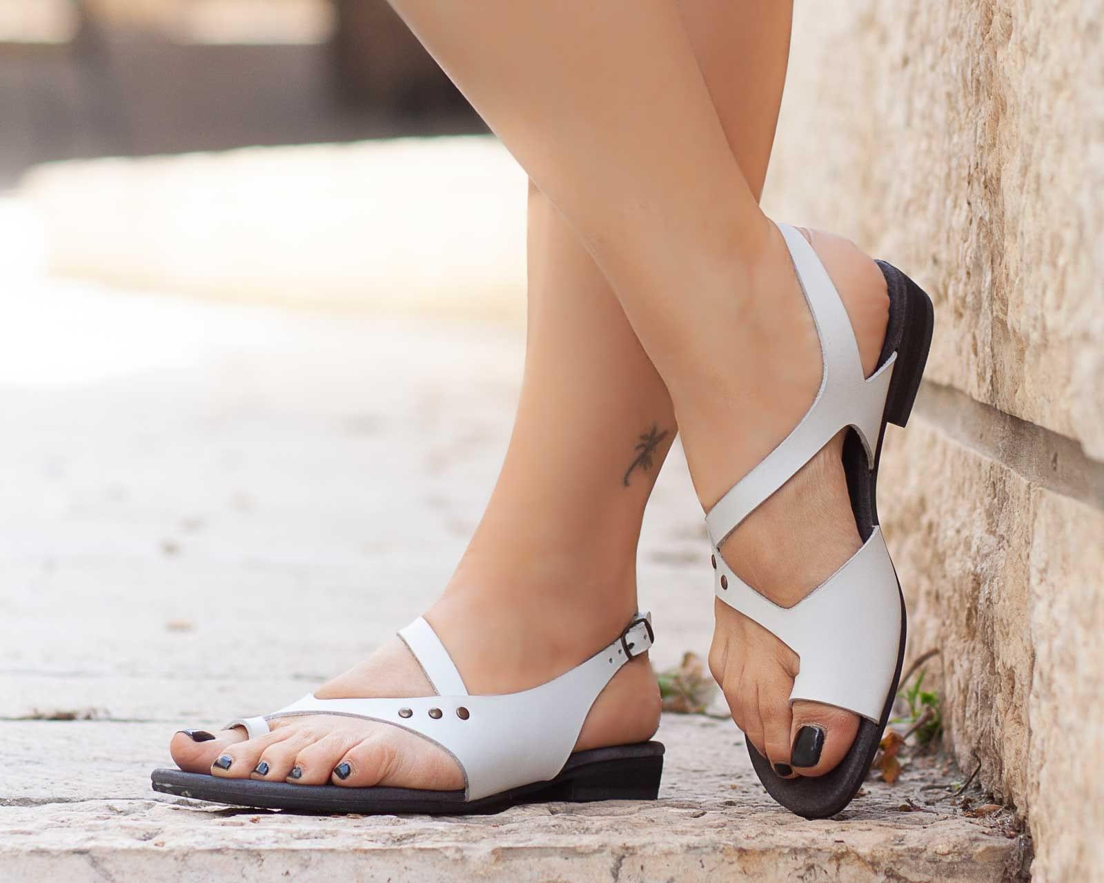 cbc360c47e0be Women Leather Sandals,Asymmetric Sandals, Summer Shoes, White Sandals, Flat  Sandals , Free Shipping