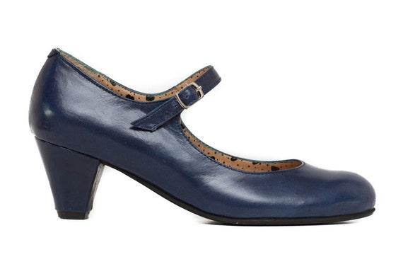 Blaues Lederschuhe, Blaue Pumps Heels Leder Pumps, High Heels Schuhe, kostenloser Versand