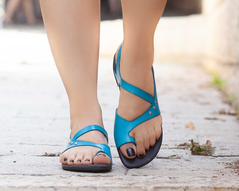 Women Leather SandalsAsymmetric Sandals Summer Shoes Blue image 0