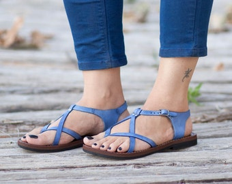 Blue Leather Sandals, Blue Sandals, Summer Shoes, Flat Shoes , Free Shipping