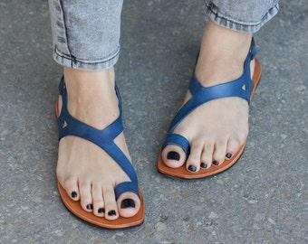 Bleu sandales en cuir, sandales asymétriques, chaussures d'été, bleus sandales, sandales plates, livraison gratuite