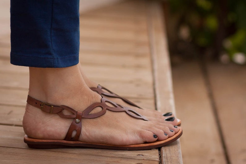 Brown Leather Sandals Flat Sandals Summer Shoes Brown image 0