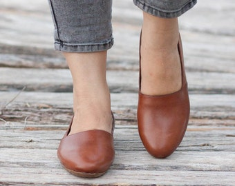 Brown Leather Shoes, Brown Shoes, Loafers, Flat Shoes, Slip Ons , Free Shipping