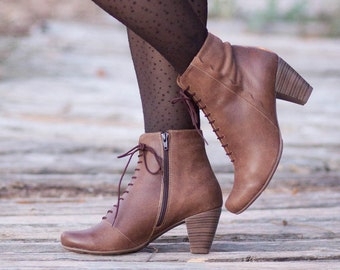 Brown Leather Boots, Ankle Boots, Leather Booties, Brown Boots, Winter Shoes, Brown Shoes, Lace Boots , Free Shipping