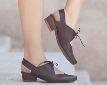 Femmes sandales en cuir, à talons sandales, sandales en cuir marron, chaussures d'été, talons,