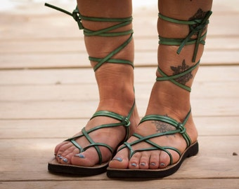 Green Leather Sandals, Green Gladiator Sandals, Greek Sandals, Green Sandals, Flat Sandals, Summer Shoes , Free Shipping