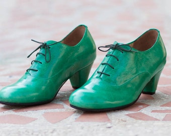 Green Leather Shoes, Leather Pumps, High Heeled Oxfords, Oxford Pumps , Free Shipping