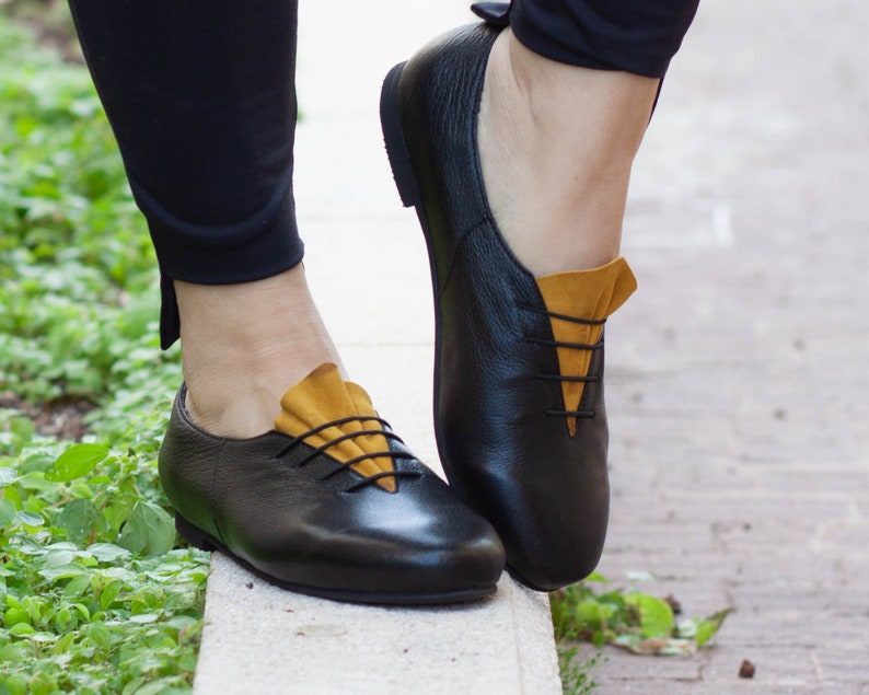 Closed Shoes Oxford Shoes Yellow Shoes Free Shipping Handmade Leather Oxfords Women Leather Shoes