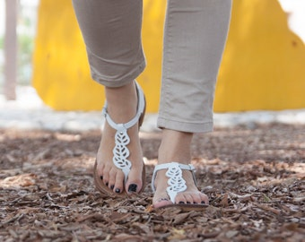 White Leather Sandals, White Sandals, Boho Chic Sandals, Summer Shoes , Free Shipping