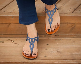 Blue Leather Sandals,Blue Sandals, Flat Sandals, Summer Shoes , Free Shipping