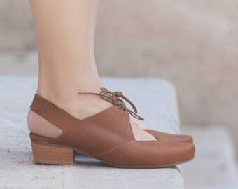 Femmes sandales en cuir, à talons chaussures sandales, sandales en cuir Camel, l'été, des talons,