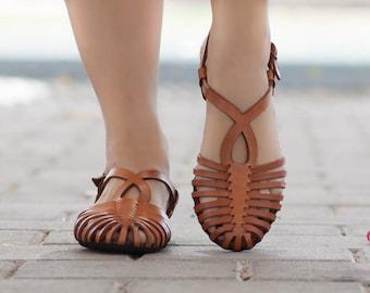 Sandales en cuir tressé, sandales des femmes, chaussures, ballerines en cuir, cuir chaussures, sandales plates, fait à la main, livraison gratuite d'été
