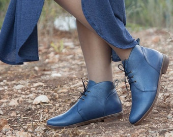 Porto, Blue Leather Booties, Leather Boots, Blue Boots, Leather Ankle Boots, Flat Boots, Winter Shoes, Closed Shoes , Free Shipping