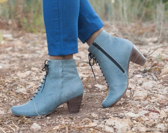 Blue Leather Boots, Ankle Boots, Leather Booties, Blue Boots, Winter Shoes, Blue Shoes, Lace Boots , Free Shipping