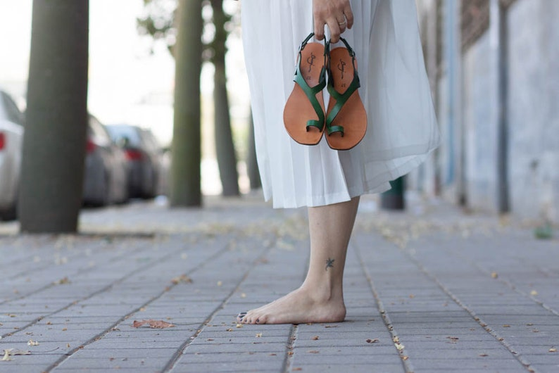 Green Leather SandalsAsymmetric Sandals Summer Shoes Green image 0