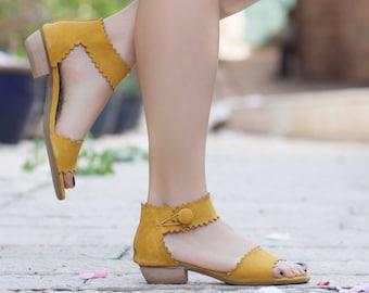 Femmes sandales en cuir, à talons sandales, sandales en cuir jaune, chaussures d'été, talons,