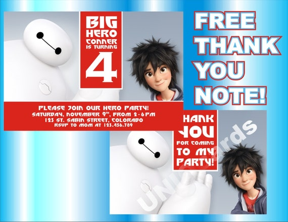 Big Hero 6 Invitation Birthday THANK