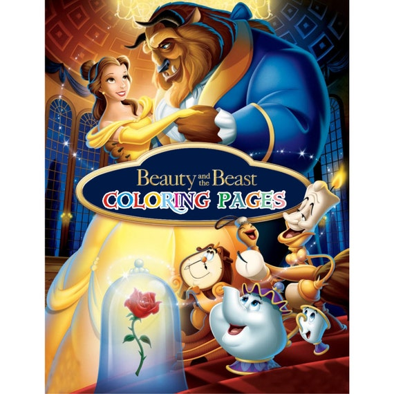 Beauty And The Beast Coloring Pages Princess Belle Coloring Etsy