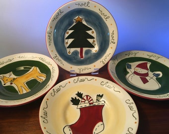 Set of four Eddie Bauer Home holiday luncheon or dessert plates