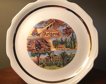 Vintage Arizona state colorful souvenir plate