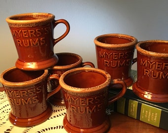 Set of six Myers's Rums ceramic stoneware mugs