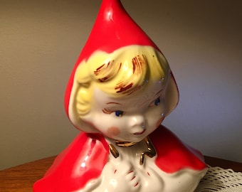 Vintage Little Red Riding Hood cookie jar lid figurine from the 40s or 50s - HULL 967