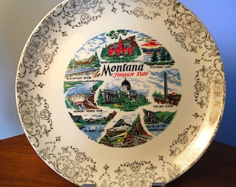 "Vintage Montana ""Treasure State"" collectible plate for display"