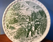 Vintage quot Christmas Snow quot Currier Ives large cake plate or platter