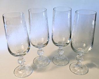 Vintage Etched Floral Water Goblet Set of 6 Water Goblets Flower Etching on Glass Import Association Bohemia Cascade Glasses
