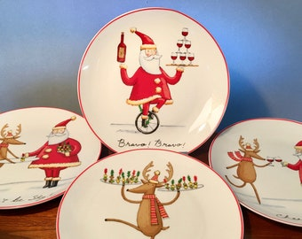 """Whimsical set of four """"Christmas Follies"""" 8-inch plates by Tim Coffey from Certified International Corporation"""