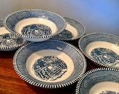 Set of six vintage Royal China Currier Ives Old Farm Gate quot fruit or dessert bowls