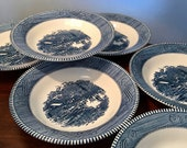 Set of six vintage Royal China Currier Ives Early Winter quot soup or cereal bowls - two sets may be available