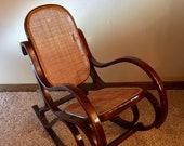 Vintage children 39 s Bentwood cane rocking chair - Thonet style