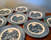 Set of 8 vintage Royal China Currier Ives Harvest quot bread and butter plates