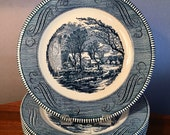 Set of six vintage Royal China Currier Ives 39 The Old Grist Mill 39 dinner plates