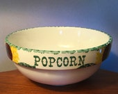 Rare vintage Crock Shop quot Popcorn quot pottery bowl with sunflowers and green trim
