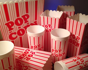 Vintage hard plastic popcorn bucket with four matching individual buckets and glasses