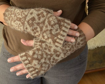 Mittens hand knitted from alpaca wool.