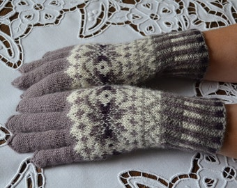 Fair Isle Gloves , made in all natural wool.