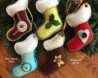 Wool Felt Stocking Ornament Color Choice