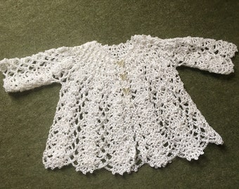 Cotton Lacy Crochet Baby Cardigan, Matinee Coat, Hand Crochet Baby Girl Sweater, 6 months.