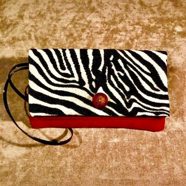 Zebra Print Wristlet Red Black And White Handbag Zebra Etsy