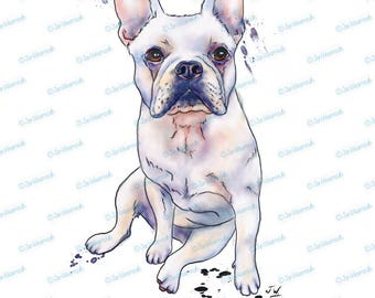 Dog clipart watercolor clipart printable art French bulldog clip art instant download. Digital clipart pen ink. Commercial use PNG. frenchie