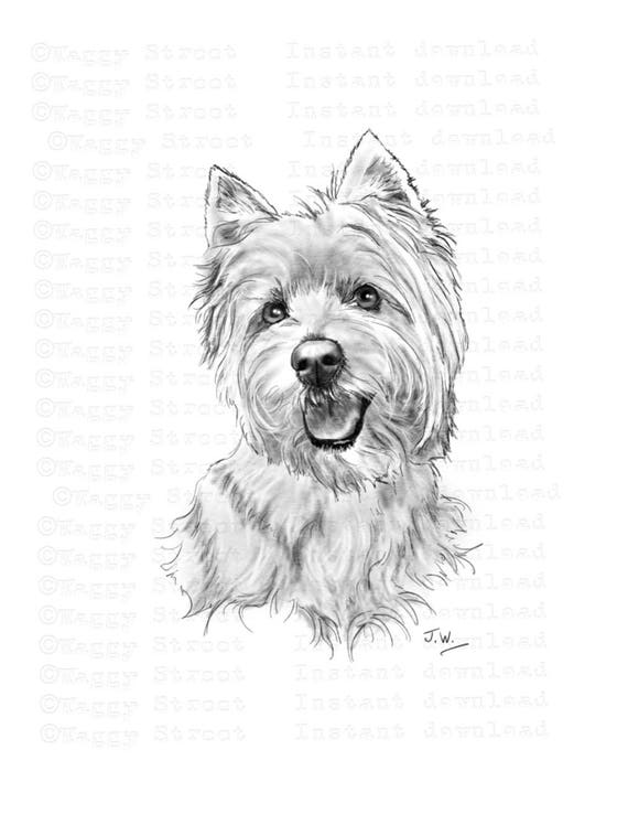 Westie clipart instant download Digital art pencil drawing ...