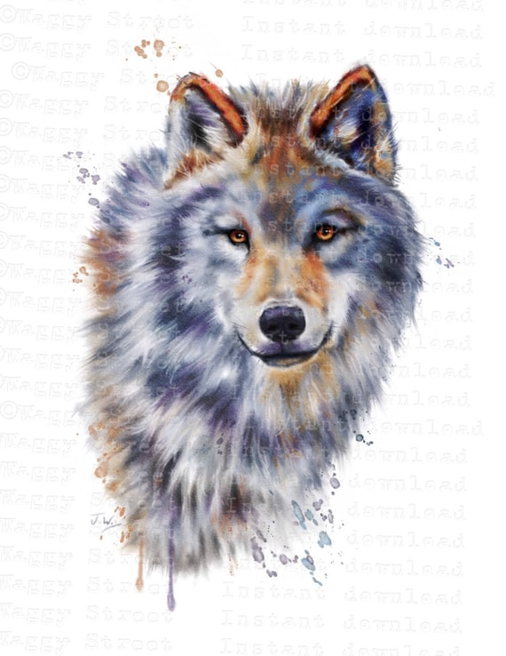 Wolf clipart. Animal clipart Watercolor clipart Wolves | Etsy