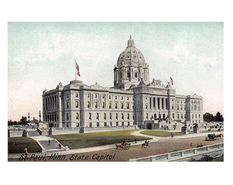 St Paul Minnesota antique postcard | Minnesota State Capitol | 1900s vintage MN travel, hometown decor, home state gift