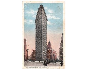 New York City vintage postcard   Flatiron Building, Manhattan   1910s NYC travel, hometown gift, office decor, apartment gallery wall