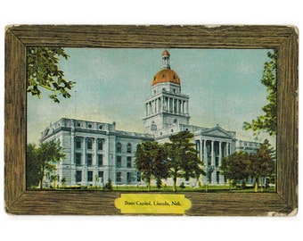 Lincoln Nebraska antique postcard | Nebraska state capitol | 1900s NE vintage travel, home state decor, hometown gift
