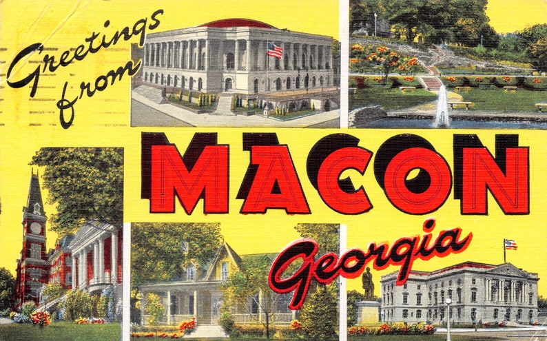 hometown gift retro gift idea southern hospitality mid century modern decor Greetings from Macon Georgia 1950s vintage linen postcard