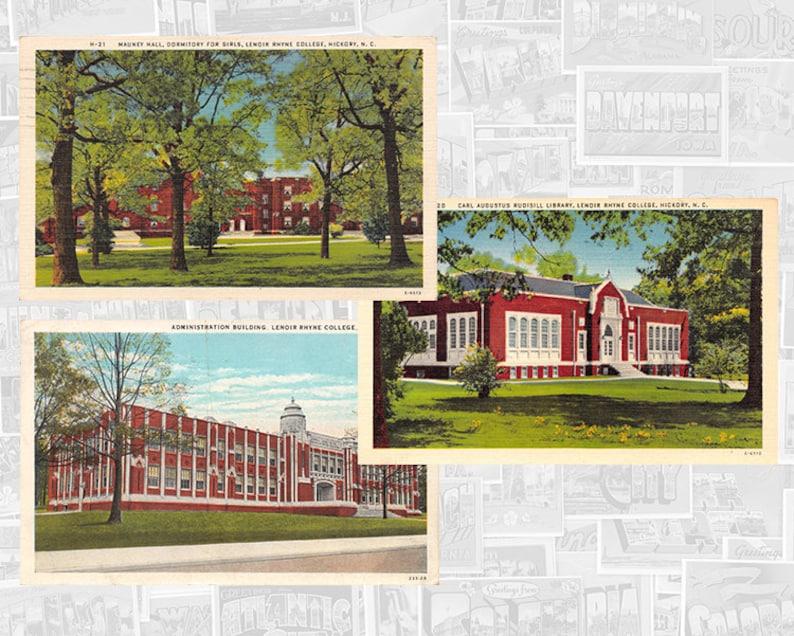 Lenoir Rhyne University, Hickory North Carolina Vintage Postcards | SET OF 3